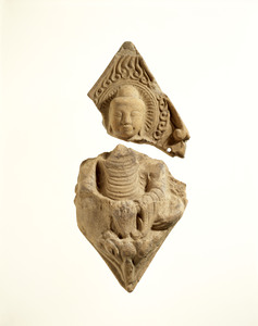 Tiles with figure Buddha (Excavated from a temple site of Tenge-ji, Mie)