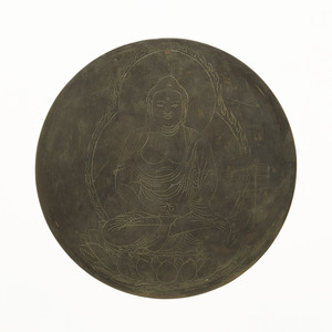 Mirror with incised image of Amida-nyorai (Amitābha)