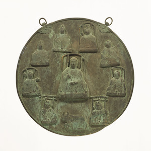 Kakebotoke (Hanging round tablet) with image of ten Shintō deities