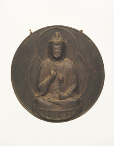 Kakebotoke (Hanging round tablet) with image of Shō-kan'non (Avalokiteśvara)