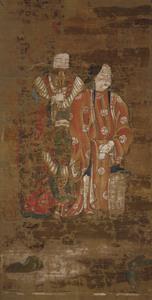 Sudhana's Pilgrimage to Fifty-five Spiritual Teachers as Described in the Flower Ornament Scripture (Avatamsaka Sutra), (J., Kegon Gojūgosho E), (Scene of Sudhana Meeting Śrīsambhava and Srīmatī)