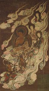 Descent of Amida (Amitābha) and a Heavenly Retinue (J., Amida Shōju Raigō Zu)