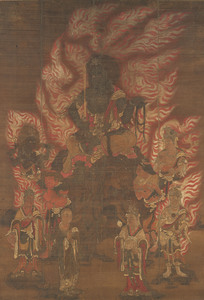 Fudō Myōō (Acalanātha) and Eight Child Acolytes (Kumāras)