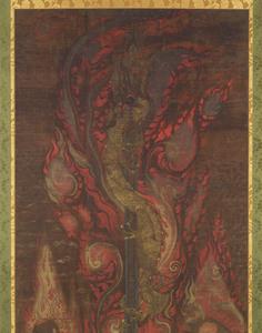 Sword with the Dragon Kurikara (Kulika Nāgarāja) and Two Child Acolytes_1