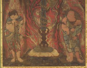 Sword with the Dragon Kurikara (Kulika Nāgarāja) and Two Child Acolytes_2