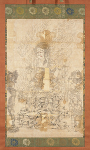 Fudō Myōō (Acalanātha), Two Child Acolytes and Sword with the Dragon Kurikara (Kulika Nāgarāja)