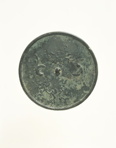 Mirror with design of flowering plants and two birds (Excavated from sutra mound at Kimpu-sen, Nara)
