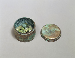 Bowl with Cover (with glass beads and a gilt bronze bell)_1
