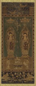 刺繍釈迦阿弥陀二尊像