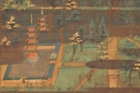 春日社寺曼荼羅(部分) 奈良国立博物館  奥が東塔、手前が西塔。右下に春日社一の鳥居。